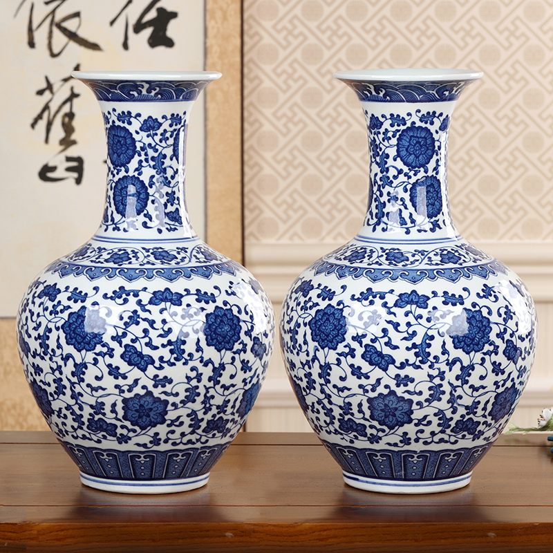 Jingdezhen Ceramic Antique Blue And White Porcelain Vase Classic Modern Home Ornaments Living Room Traditional Handmade Vase