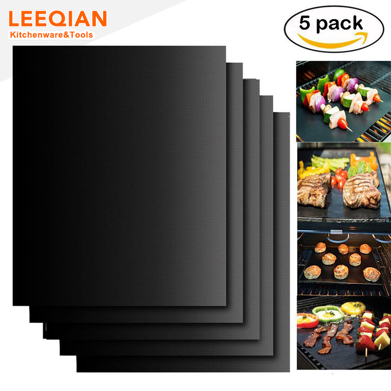 5pcs Hot Selling Reusable Barbecue Grill Mat Easy Clean Non Stick BBQ Grill Mats Baking Mats Grill Pad Kitchen Accessories