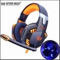 KOTION 각 게임용 헤드셋 게임 헤드폰 LED 라이트가 장착 된 깊은베이스 스테레오 이어폰 마이크 PC 용 노트북 PS4 Xbox
