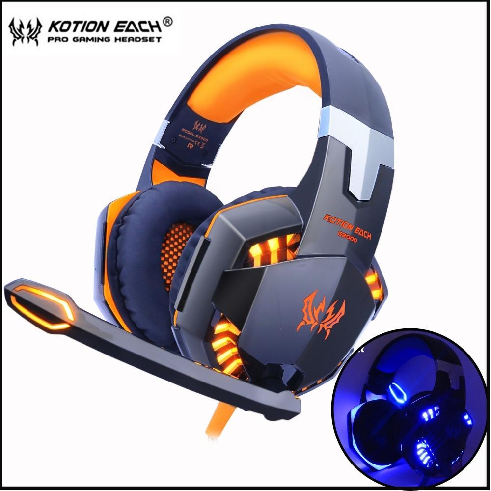KOTION cada juego de Auriculares auriculares estéreo graves profundos con micrófono de luz LED micrófono para PC portátil PS4 Xbox