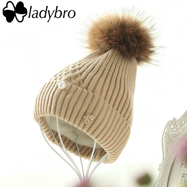 Ladybro Winter Hat For Women Beanie Cap Knit Thick Velet Skullies Beanies Pearl Butterfly Diamond Real Fur Pom Pom Hat Female