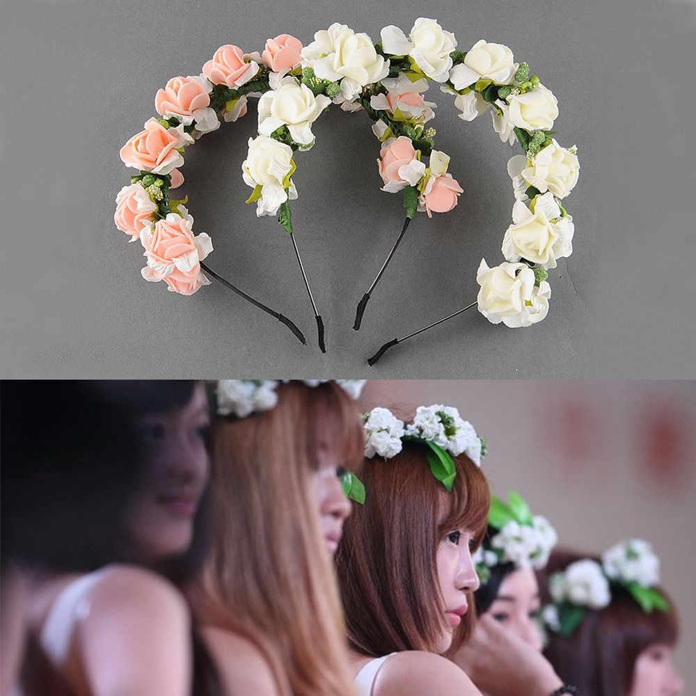 Mais novo bonito feminino floral bandana flor guirlanda festa de casamento baile cabeça envoltório acessórios para o cabelo famale bandana
