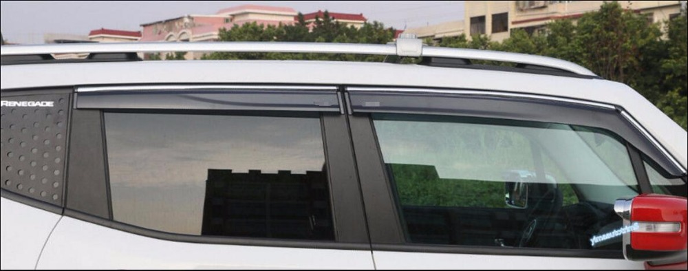 Accessories For Jeep Renegade 2015 2016 2017 2018 Window Visors Awnings Wind Rain Deflector 4 Pcs / Set for ford explorer sport 2013 2014 2015 2016 2017 abs plastic window visors awnings rain sun deflector visor guard vent cover