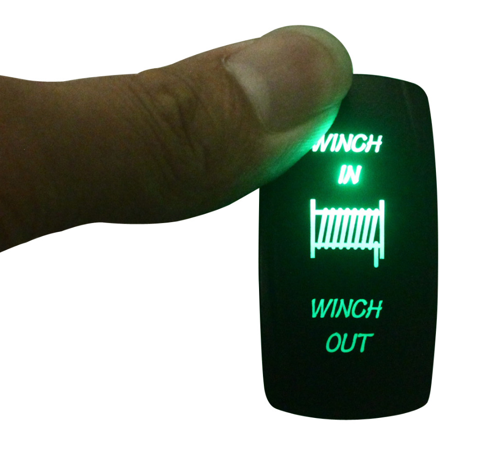 Marine Boat Car Winch In/out Rocker Switch (On)-off-(on) Momentary GREEN LED Dpdt/7p 12v/24v