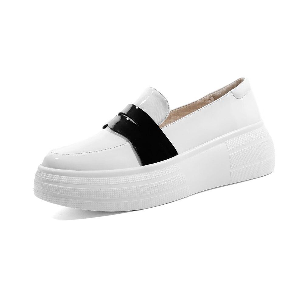 Genuino Primavera Zapatos Furtado on Otoño 42 Mujeres Black Plataforma Señoras Cuero Plana Slip Moda El Mocasines Y white De Casuales La Las 2019 Arden wTdEPT