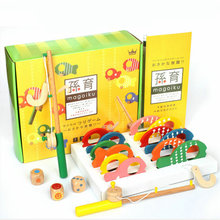 Three in one wooden fishing game parent-child desktop toys, Wood Puzzle Children's fishing game set, Kids Table Game Pretend toy factory direct wholesale billiard game billiards color matching cognitive parent child game desktop classic toys kids wood toys