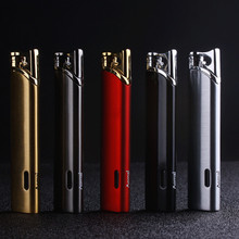 цена на Small Strips Slender Torch Turbine Lighter Butane Cigar Lighter Gas Cigarette 1300 C Windproof Lighter no gas