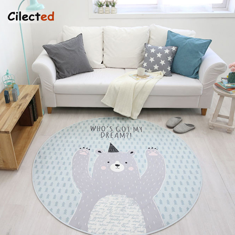 Cilected Nordic Cartoon Series Round Carpet Living Room Computer ...