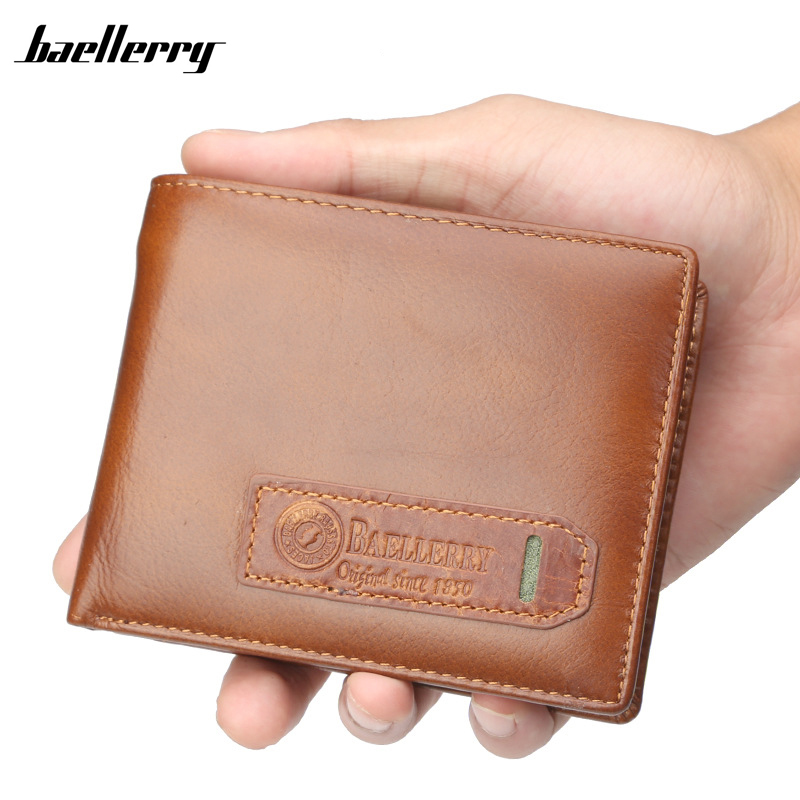 New Brand Genuine Leather Men Wallets Purse Money Bag Fashion Male Wallet Card Holder Coin pocket Purse short Wallet