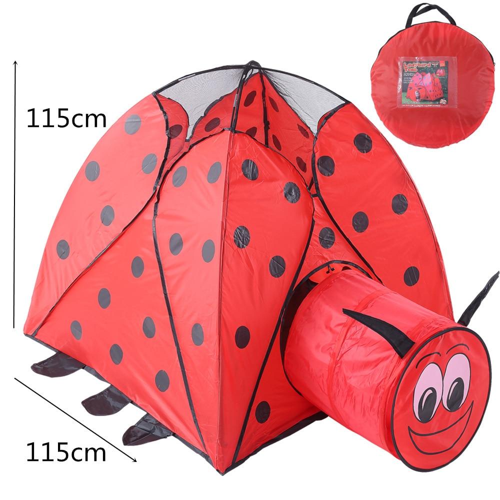 Bébé jouer tentes Portable pliable pliant rouge Beetle Carton Tunnel tente enfants Cubby jouer maison jouets de plein air tentes enfants cadeaux