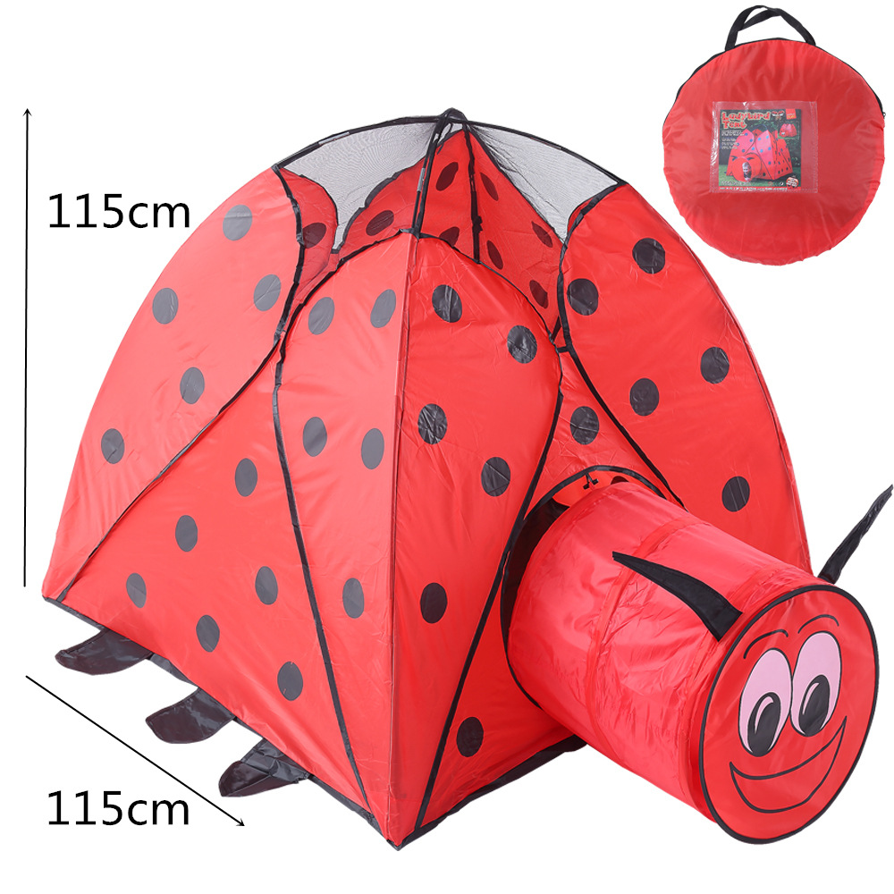 Baby Play Tents Portable Foldable Folding Red Beetle Carton Tunnel Tent Children Cubby Play House Outdoor Toys Tents Kids Gifts outdoor puzzle folding mongolia bag game house tents