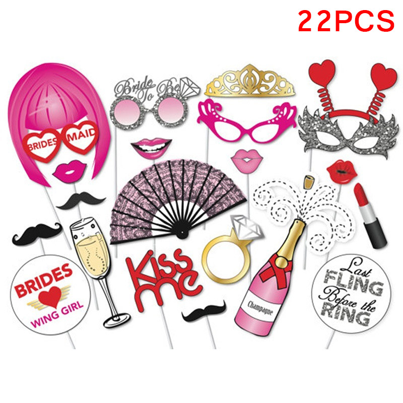 22pcs Party Supplies Cute Photo Props Mustache DIY Kits Lips Single Wedding Bachelorette Hen Bride Party Decor FP