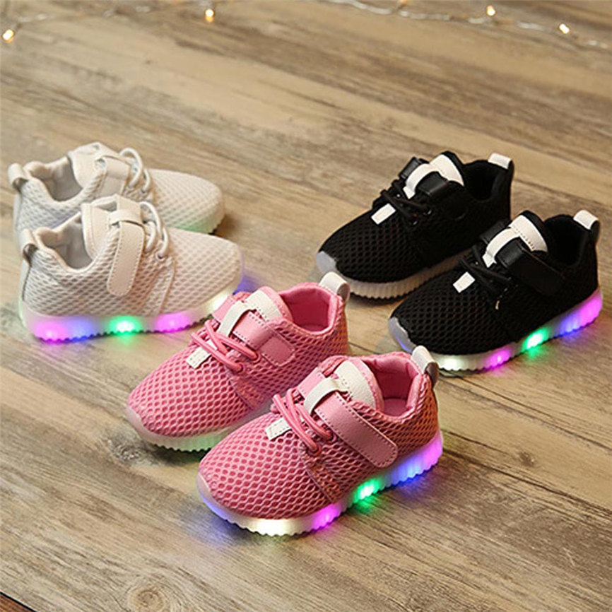 Toddler Kids Luminous Sneakers Baby Girl Leather Lighted Crib Shoes Casual shoes