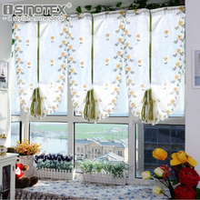 Hot Tulle For Window Roman Curtain Embroidered Voile Sheer Curtains for the Kitchen Living Room Bedroom Screening 1PCS(China)