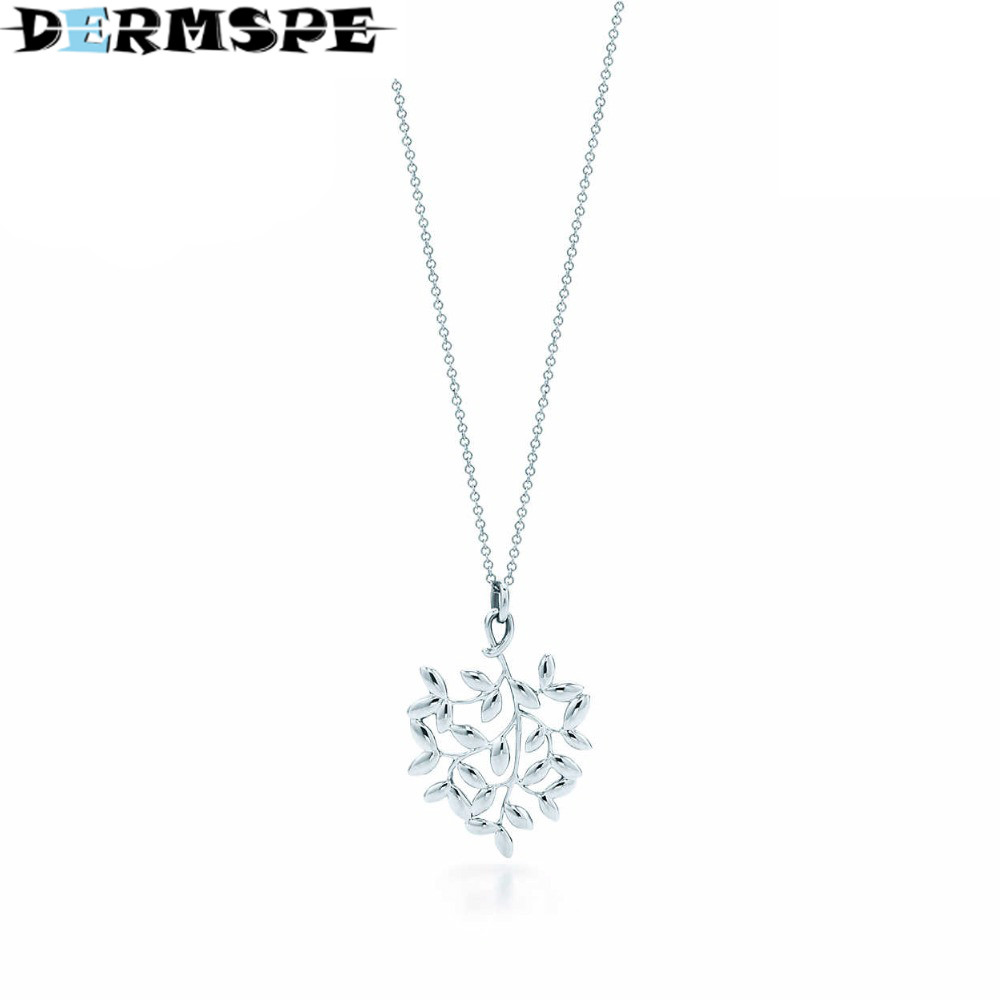 DERMSPE Olive leaf pendant Necklace TIFF 925 Sterling Silver Pendant Nature Fashion Jewelry Package Mail