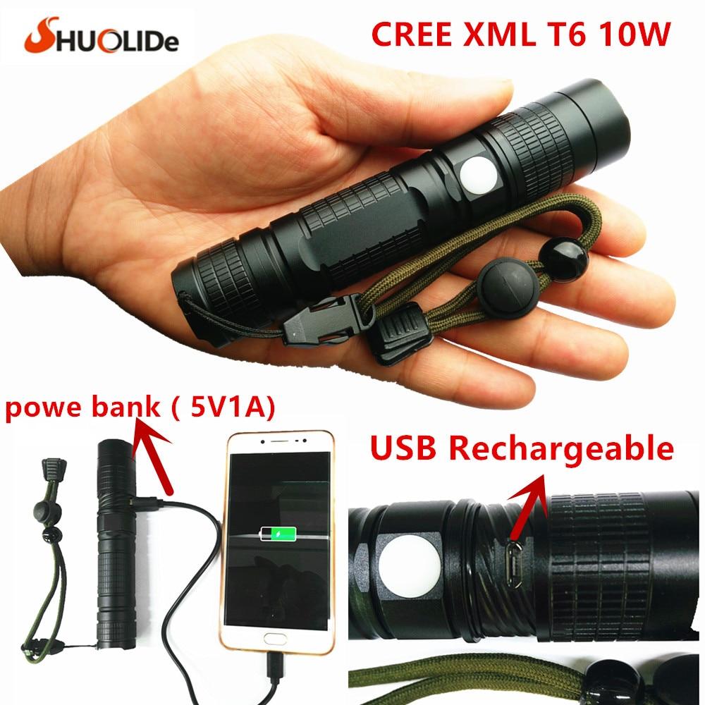 2017 New USB Rechargeable CREE xmlT6 LED torch mini Flashlight power bank flashlight LED glare Aluminum