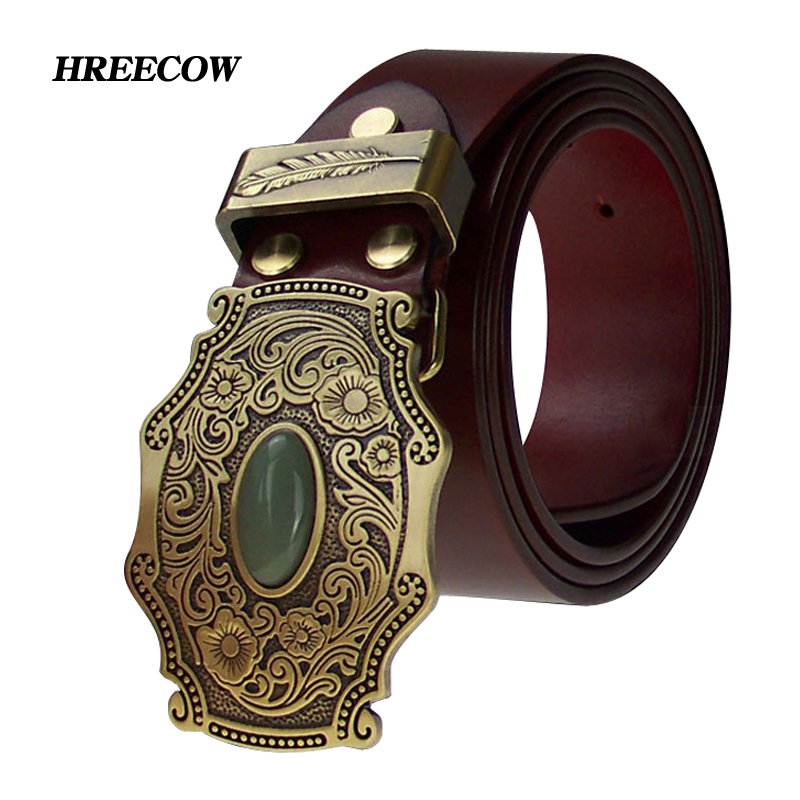 Top Cow Genuine Leather Belts For Men Copper Buckle Tang Grass Grain Inlaid Jade Brass Plate Buckle Homme Making-replica Ancient
