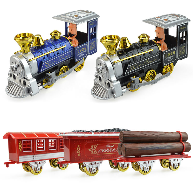 Alloy acoustic model steam train cartoon version childrens kid car toys christmas new year gift collection of ornaments