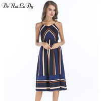 DeRuiLaDy Striped Beach Casual Maxi Dress Women Sexy Sleeveless Chiffon Strap Midi Dresses 2017 Boho Style