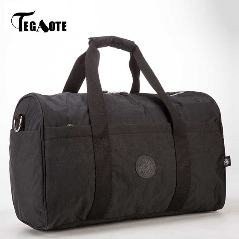 TEGAOTE Для женщин Дорожные сумки вещевой Чемодан нейлон Водонепроницаемый большой Ёмкость Сумки выходные сумка Однотонная повседневная обувь Tote Bolsas Черный