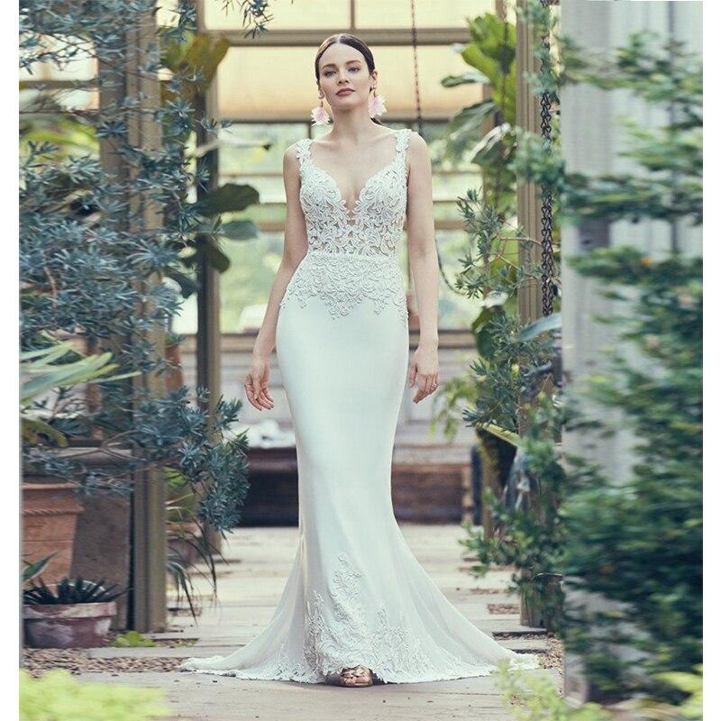 Verngo gaine Robe de mariée v-cou robes de mariée délicate appliqué dos nu Robe de mariée Boho Robe Mariage