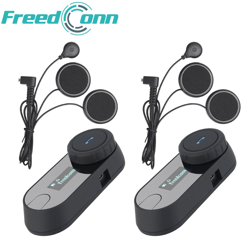 Ru Stock, 2 pcs FreedConn Moto Casque Interphone TCOM-SC Moto Bluetooth Interphone Casque Avec Écran LCD FM Radio Doux Micro