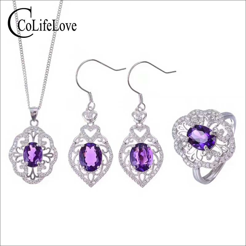 Vintage silver amethyst jewelry set 6 mm * 8 mm natural VVS amethyst silver jewelry classic 925 silver amethyst wedding jewelry нож inhouse amethyst ck 13