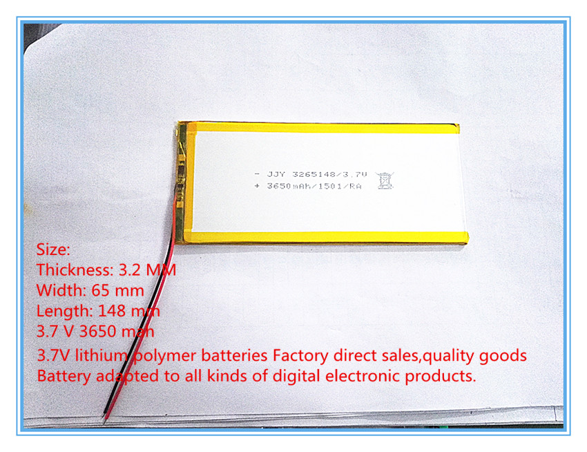 best battery brand Free shipping chi for hi8 3265148 3650 ma polymer lithium battery 3 7