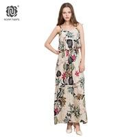 NORA TWIPS 2018 New Women Casual Bohemian Dress Ankle-Length Cotton Print Spaghetti Strap Ruffles Summer Dress Beach Dress