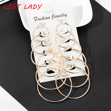 Lost lady 2019 Fashion New 6 Pairs/Set Gold Silver Small Big Circle Hoop Earrings for Women Steampunk Round Earring Sets