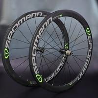 2017 SPOMANN Road Bike Carbon wheelset 50mm Bicycle Carbon Clincher Wheel set High temperature rims 3 colors bicycle parts