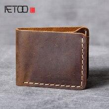 AETOO Retro Saf el yapımı deri küçük cüzdan adam basit kafa katmanı inek derisi cüzdan Çılgın At Deri para klip