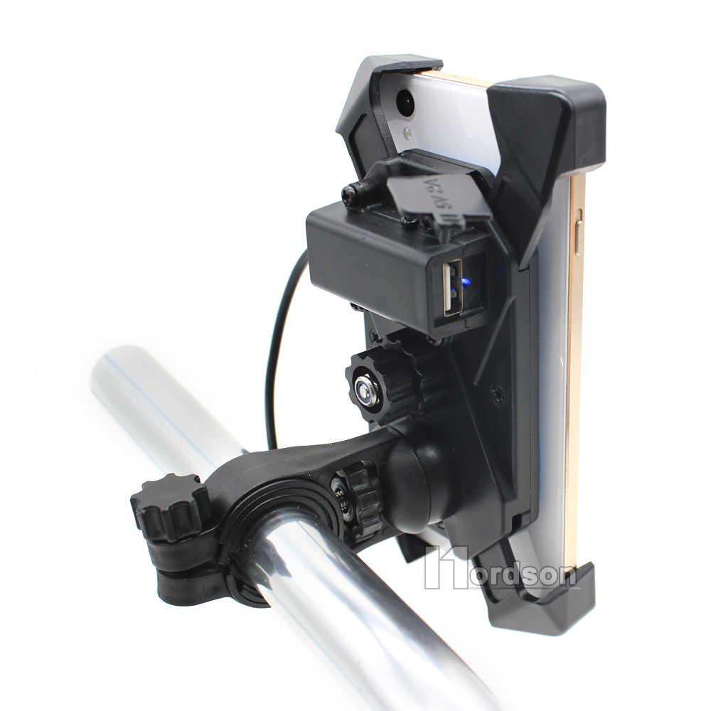 ROAOPP العالمي للدراجات النارية شاحن مثبت الهاتف الخلوي حامل المشبك مع شاحن يو اس بي للكهرباء دراجة سكوتر ATV لتحديد المواقع حامل