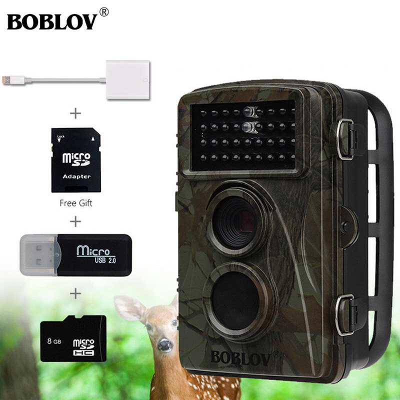 BOBLOV CT007 1080P HD 12MP 8GB Hunting Wildlife Trap Camera Night Vision  IR LED Game Cam with 2 in1 SD Reader Cable 2016 new qlm 940n 12mp 940nm night vision wildgame trial camera hunting cameras with 8gb sd card free shipping