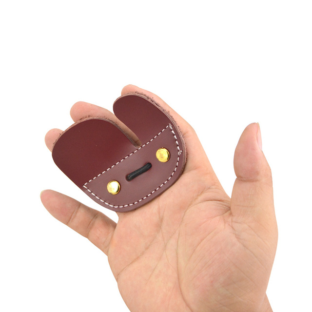 1Pc Archery Finger Protection Finger Leather Metal Protection Pad Bow Hunting Shooting Finger Protection Prevent Hand