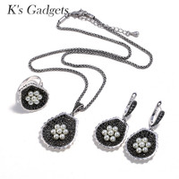 K'S Gadgets Turkish Jewelry Black Crystal Earings Fashion Ladies Jewellery Sets Blue Beads Flower Necklace Ring