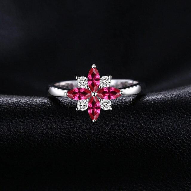 JewelryPalace Fiore 0.86ct Creato Anello di Rubino Reale Puro Dell'argento Sterlina 925 di Nuovo Modo Del Partito Anelli Per Le Donne di Marca Gioielleria Raffinata