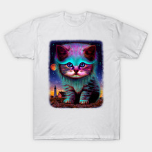 2017 New Fashion Brand Clothing Men T Shirt Cute Cat Waiting For My Fish Printing T-Shirt O-Neck Hipster Style Tees Casual Tops