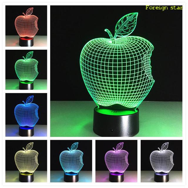 APPLE Lamp 3D Visual Led Night Lights for Kid Touch USB Table ...