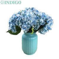 INDIGO- 5pcs Blue Hydrangea With Leaves Flower Hydrange Beautiful Wedding Flower Floral Event Party Table Flower Free Shipping