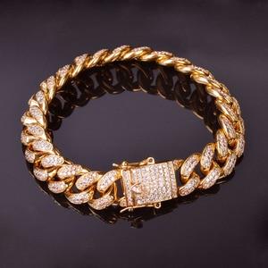 "Image 5 - 12MM Men Zircon Curb Cuban Link Bracelet Hip hop Jewelry Gold Color Thick Heavy Copper Material Iced CZ Chain Bracelet 8"""