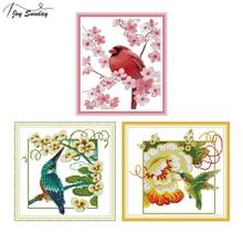Joy Sunday Stamped Cross Stitch Kits Red Bird Patterns Aida Canvas DIY Hand Needlework Embroidery Kit DMC Cross Stitching Thread mnls diy dmc 3d cross stitching 0088