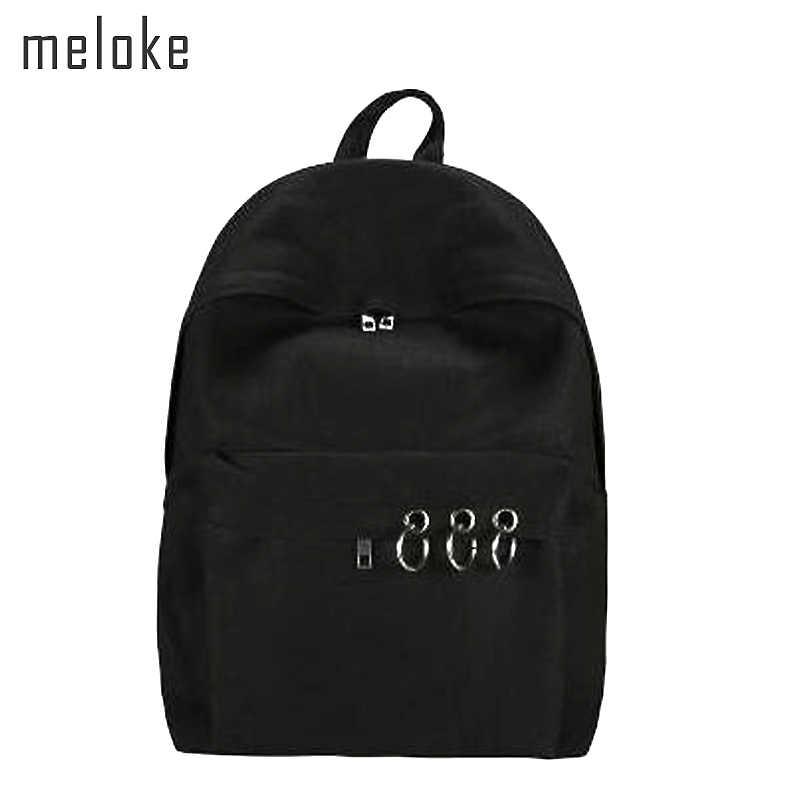 e2e80deca4a5 Meloke 2018 Harajuku черный рюкзак унисекс однотонный холст рюкзак школьные  сумки для подростков пара Рюкзак Повседневная
