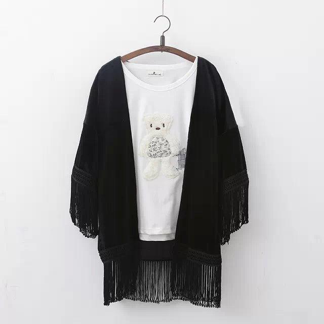 free shipping blusa feminina 2015 solid black kimono cardigan with ...
