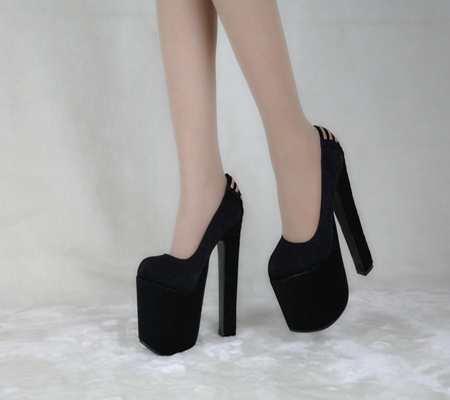 ФОТО Wholesale Fashion Sexy Nightclub Elegant Comfortable High Thick Heels Pumps Shoes Women Black Shoes Sy-1394