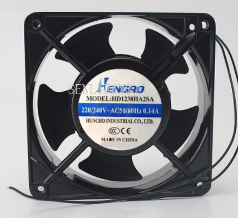 Free Shipping  For HENGRD HD1238HA2SA AC 240V 0.14A 120x120x38mm 2-Wire Server Cooler Fan