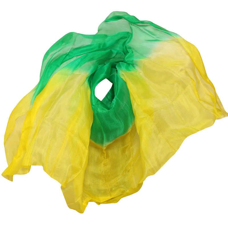 Bauchtanz Requisiten Frauen Bauchtanz Seide Schleier Bauchtanz Schleier Für Mädchen Bauchtanz Seide Schleier grün + gelb