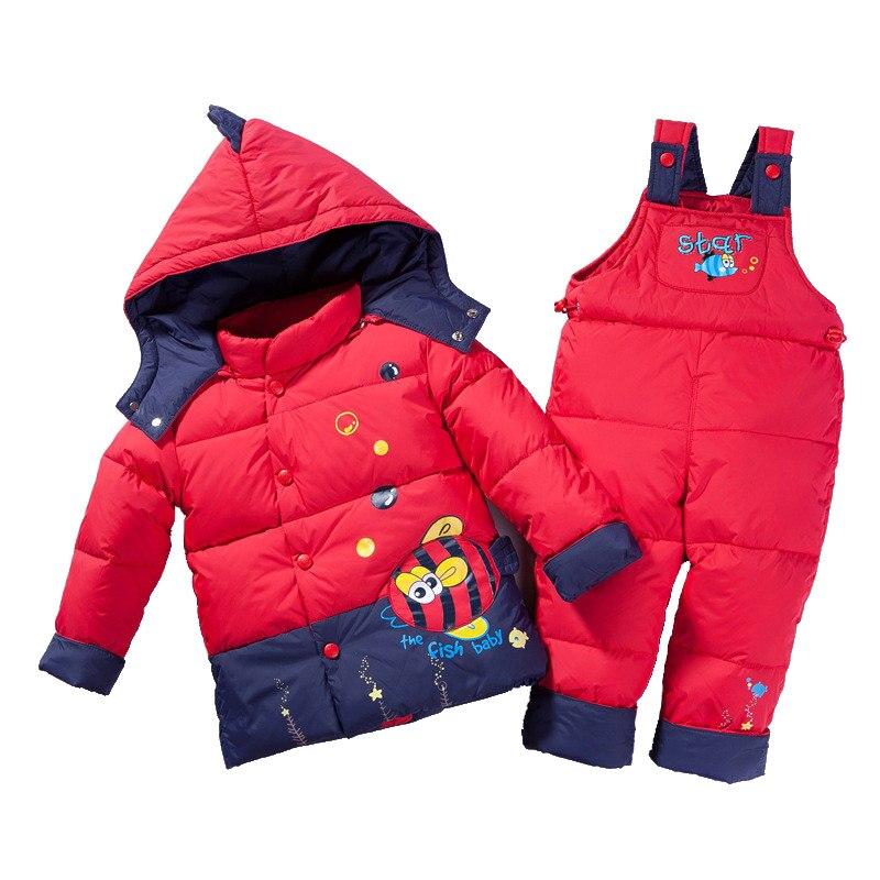 цена на ZTOV Winter Children Clothing Set for Boys Girls Down Cotton Parkas Jacket Coat +Overalls Warm Snowsuit Toddler Kid Ski Suit