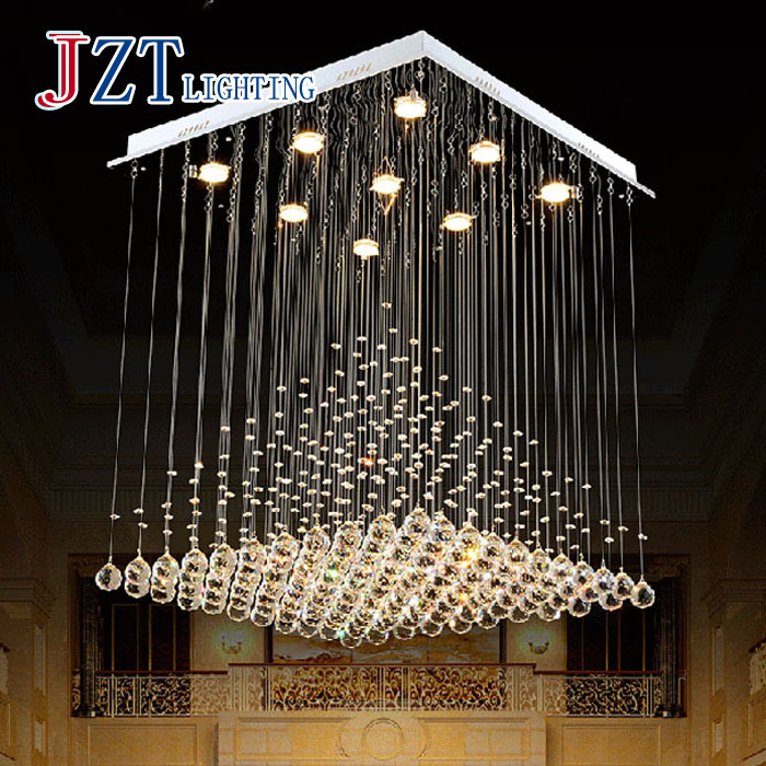 Hanging crystal chandeliers thejots aliexpress buy modern k square crystal chandeliers living lighting ideas aloadofball Image collections