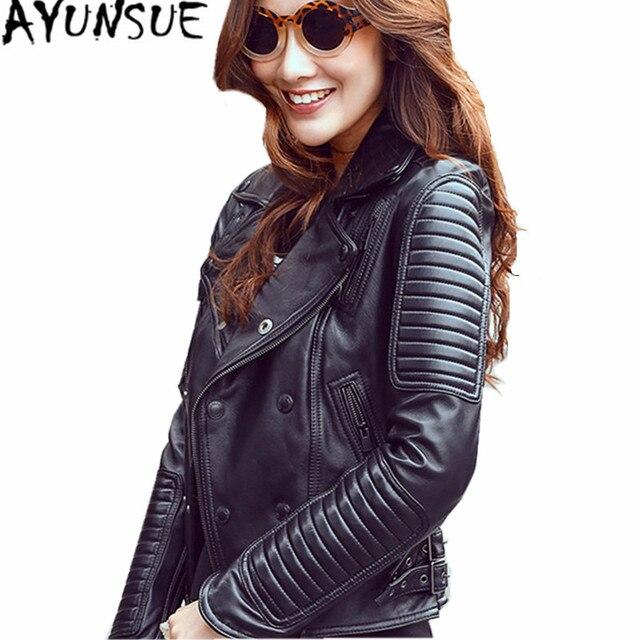 5b6eadb41df74 AYUNSUE Genuine Leather Jackets European Style Women Sheepskin Coat Black  Leather Motorcycle Jacket Maxi Size Slim Jackets WXF25